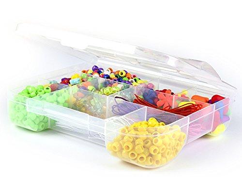 DIY Bracelet Kit 1000+ Mixed Pieces   Child Crafting Kits   Assorted Color Plastic Beads for Kids, Bracelet String, Jewelry Charms   Pony Bead Bracelets, Necklaces, Key Chains, Friendship Braids (Plastic Charm Bracelets)