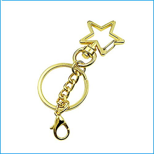 (JCBIZ 10pcs Gold Star Design Spring Snap Keychain Clip Metal DIY Key Chains Accessories Creative Pentagram Hanging Buckle Key Ring with Lobster Clasp)