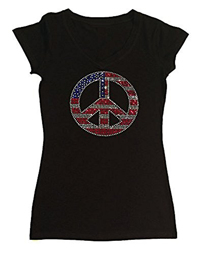 Flag Womens Cap Sleeve T-shirt (Womens Fashion T-shirt with American Flag Peace Sign 4th of July in Rhinestones (2X, Black Cap Sleeve))