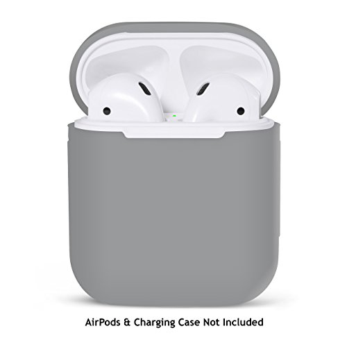 PodSkinz AirPods 2 & 1 Case [Front LED Visible] Protective Silicone Cover and Skin Compatible with Apple AirPods (Grey)