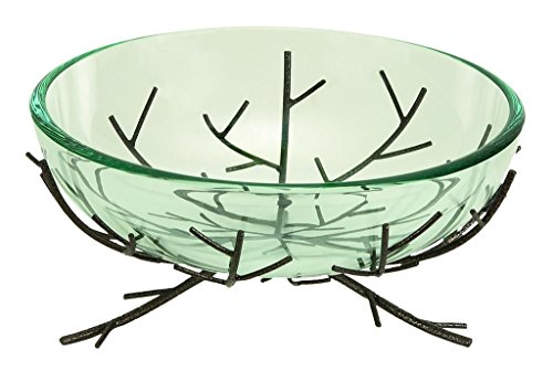 Deco 79 Glass Bowl, Metal Stand, 13 by 6-Inch (Deco Pasta compare prices)