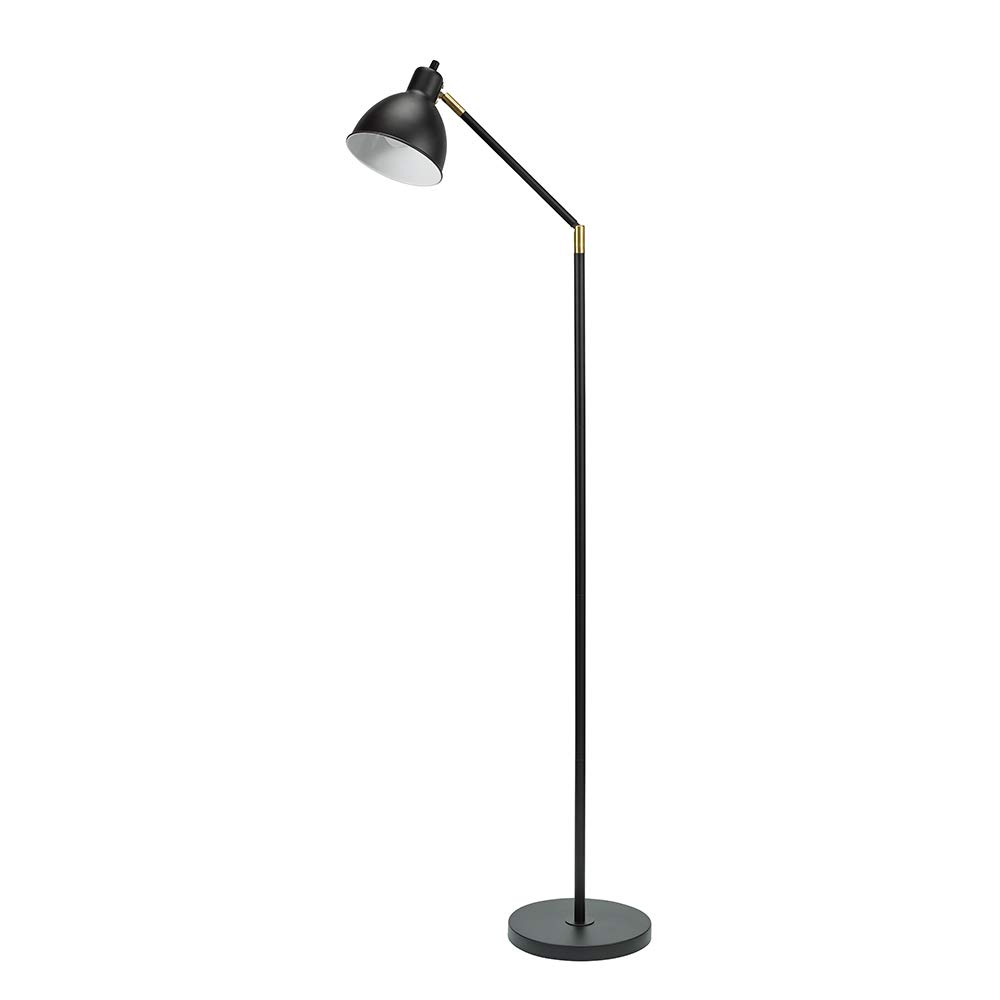 "Catalina Lighting 21401-000 Modern Adjustable Metal Floor Lamp with Antique Brass Accents 54.5"" Black"