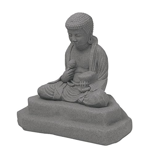 EMSCO Group Meditating Buddha Statue  Natural Granite Appearance  Made of Resin  Lightweight  24 Height