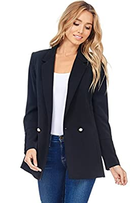 A+D Womens Casual Fit Lapel Pearl Button Pocketed Blazer Jacket