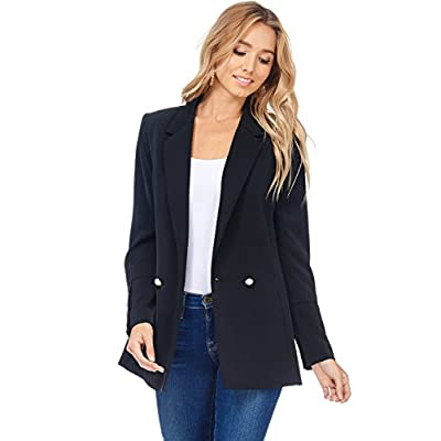 Cheap A+D Womens Casual Fit Lapel Pearl Button Pocketed Blazer Jacket hot sale