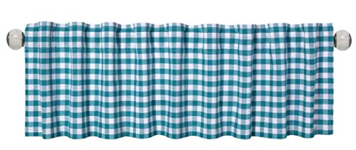 - Valance Curtain Extra Wide and Short Window Treatment for Kitchen Living Dining Room Bathroom Kids Girl Baby Nursery Bedroom, Gingham Check Pattern, 72