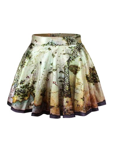 (LaSuiveur Womens Middle Earth Map Digital Print Stretchy Flared Pleated Casual Mini)