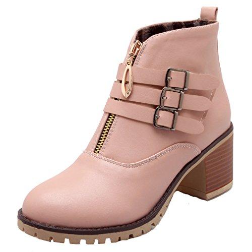 Chunky Soft Closed Pink ENMAYER Heel Round Plush Material Toe Pu Womens Boots Short qCxX5wza