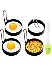Egg Ring, 4 Pack CADAVO Non Stick Egg Ring Mold, Stainless Steel Circle Shaper Pancake Rings, Kitchen Cooking Tool for Frying Egg Mcmuffin, Sandwiches, Egg Maker Molds Set (4pcs)