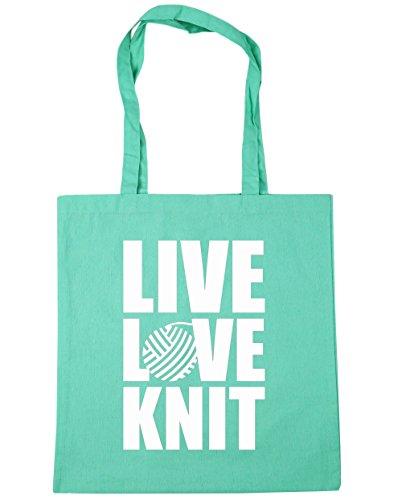 HippoWarehouse Live Love Knit (Vive Ama Teje) Bolso de Playa Bolsa Compra Con Asas para gimnasio 42cm x 38cm 10 litros capacidad Menta