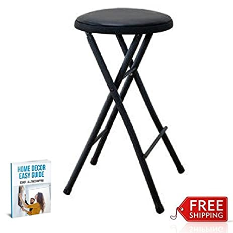 Fold Up Padded Stool Portable Bar Stool Metal Collapsible Small Comfortable u0026 eBook by AllTim3Shopping  sc 1 st  Amazon.com & Amazon.com: Fold Up Padded Stool Portable Bar Stool Metal ... islam-shia.org