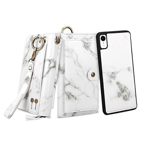 Petocase Compatible iPhone XR/10R Wallet Case, Multi-Function Zipper Purse with Detachable Magnetic Back Cover Wristlets 13 Card Slots & 4 Cash Pocket for Apple iPhone XR/10R White Marble