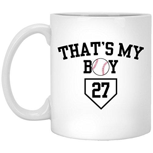 Thats My Boy Baseball 27 Mug, White 11Oz, Baseball Mom Dad Coffee Mugs Saying