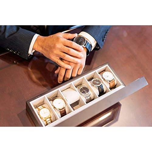 Solid Espresso Wood Watch Box Organizer with Glass Display Top by Case Elegance