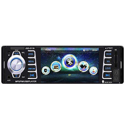 Car Stereo,Single Din Car Radio,4.1 inch Screen Bluetooth Car Audio Stereo Receiver In Dash 12V MP5 Player/USB/SD Card/AUX/FM with Remote Control(NO CD/DVD)