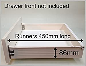 Replacement Kitchen Drawer Box (shallow), Complete Kit Including Runners.  FROM £17.70 (07  For 500 Wide Base With 15mm Thick Sides)