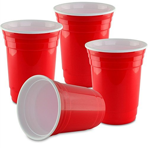 Reusable Solo Cups (Double Wall 16 oz. Red Party Cup - 4 Pack- Reusable Beverage Cup - Insulated for Drinking)