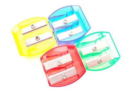 DrWritting Smart Hand Manual Double Hole Pencil Sharpeners Bulk for Art Kid School Classroom (4 PCS, Assorted Colors)