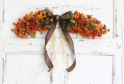 Liveinu Artificial Daisy Floral Swag for Front Door Flowers Arrangements Wedding Table Centerpieces Door Swag for Decor 21.8 x 4.9 Inch Orange Swag Wreath ()