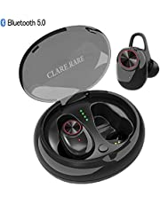 CLARE RARE Wireless Headphones, Wireless Bluetooth 5.0 Earbuds with 3D Clear Sound,15H Playtime, Noise Canceling Sweatproof Sports Wireless Earphones with Built-in Mic 500mAh Charging Box