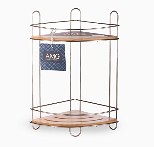 AMG and Enchante Accessories Free Standing Bathroom Spa Tower Storage Corner Caddy, FC100007 SNI, Satin Nickel by AMG (Image #7)