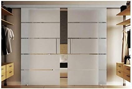 Puertas correderas de cristal sanimiz 2 x 775 x 2050 mm en vidrio templado-vidrio esmerilado con horizontal de rayas (s) Levidor EasySlide-sistema completo. Duración de la batería del carril en 4000 mm