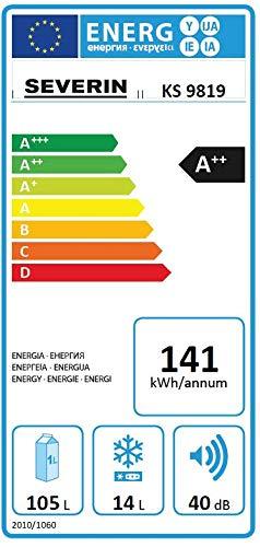 severin tischk hlschrank mit gefrierfach 105l 14l energieeffizienzklasse a ks 9819 wei. Black Bedroom Furniture Sets. Home Design Ideas