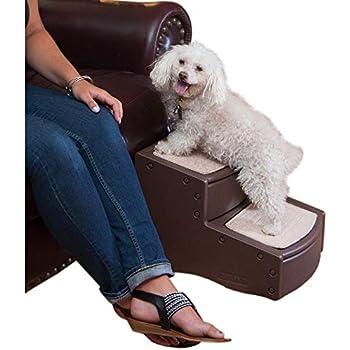Pet Gear Easy Step II Escaleras para Mascotas, 2 peldaños para Gatos/Perros de hasta 75 Libras, portátil, extraíble y Lavable Alfombra Tread, Chocolate, 17 L x 14 W x 13 H