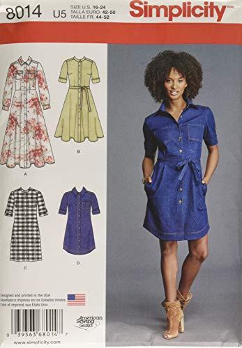 Simplicity Creative Patterns US8014U5 Misses' Shirt Dress Size: U5 (16-18-20-22-24), 8014 (Shirt Dress Misses)