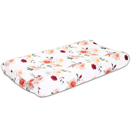 Rose Floral Baby Changing Pad Cover by The Peanutshell (Pad Changing Linen Cover)