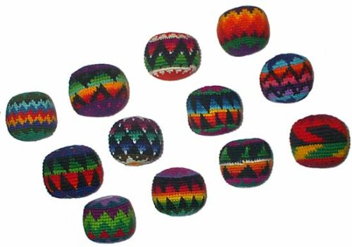 Set of 12 Hacky Sacks, Assorted Colors and Geometric Patterns by Turtle Island Imports