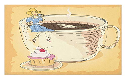 Ambesonne Dessert Doormat, Retro Dressed Lady Sitting on a Gigantic Coffee Mug and Sipping Coffee, Decorative Polyester Floor Mat with Non-Skid Backing, 30 W X 18 L Inches, Apricot and Multicolor