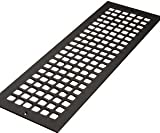 6'' x 30'' Flat Black ''Cast Iron Look'' Steel Square Design Vent Cover With Screwholes (8'' x 32'' Overall)