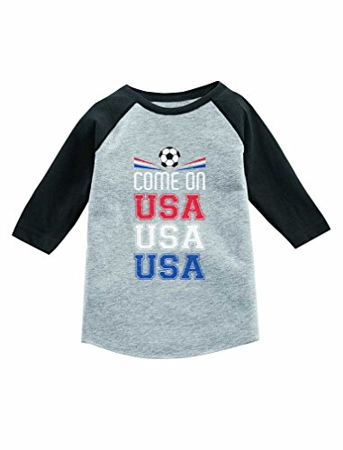 Come On USA Flag American Soccer Fans 3/4 Sleeve Baseball Jersey Toddler Shirt 2T Dark Gray