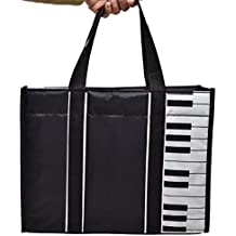 PUNK Music High Note Treble Clef Pattern Canvas Handbag Shopper Grocery Bags Kids Students Reusable Tote Carrying Books Snacks Food Lunch Dinner Box 40.5x36.5x9cm (Piano Keys-Black)