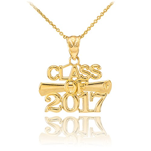 10k Yellow Gold Diploma Charm Class of 2017 Graduation Pendant Necklace, 22
