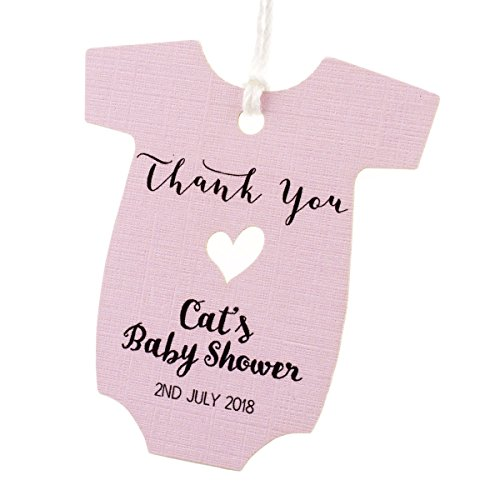 Summer-Ray 50pcs Personalized Pink Baby Onesie Baby Shower Favor Tags ()