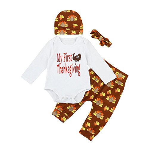 Little Turkey Baby Costume (Thanksgiving Newborn Kid Baby Boy Girl Outfit Clothes Romper+Pants Set 4 Pcs by CSSD (6M, White))
