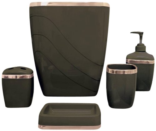 Carnation home fashions 5 piece plastic bath accessory set brown buy online in uae kitchen - Bathroom accessories dubai ...