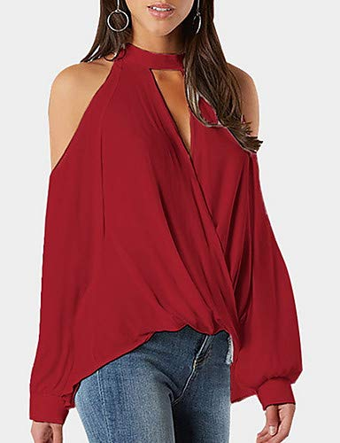 Blouse Neck YFLTZ Solid Colored Women's Halter Red 5AqXqfwn
