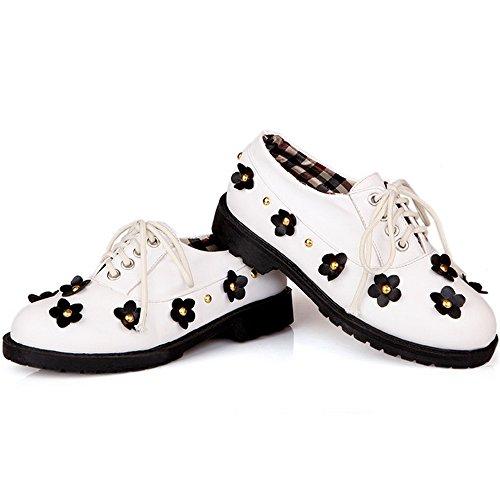 COOLCEPT Mujer Casual Cordones Zapatos Flor Studed Chicas Colegio Bombas Zapatos Blanco