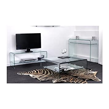Ensemble En Verre Console Meuble Tv Et Table Basse Carree Glass