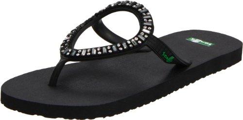 Sanuk Women's Ibiza Monaco Flip Flop Sandal,Black,10 M US ()