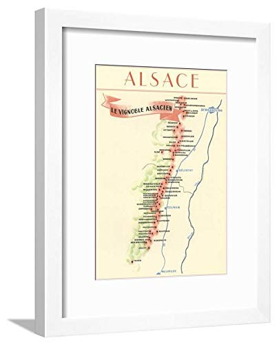 ArtEdge Map of Alsace Region Wine Country White Matted Wall Art Framed Print, 16x12 in -