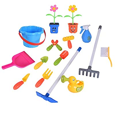 Garden Toy Cart,Pretend Play Set Educational Toys Children Trolley Toy Set with Leaf Rake, Watering Can, Gardening Hand Cultivator, Trowel,Shovel and Pretend Potted Flower (Purple): Arts, Crafts & Sewing