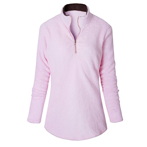 1/4 Zip Fleece Sweatshirt (Womens 1/4 Zip Hoodies Fleece Pullover Jacket Outwear Sweater for Fall or Winter (S))