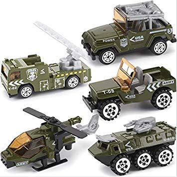 5pcs Kids Truck Toy Gift Army Vehicle Fire Truck Alloy Model Cars Set Army Car