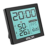 Indoor Thermometer Hygrometer Snooze Alarm Clocks, Portable Temperature Humidity Meter Max/Min Record Travel Clocks Calendar (Black)