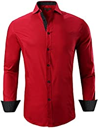Mens Dress Shirts Cotton Casual Regular Fit Long Sleeve Collar Shirt