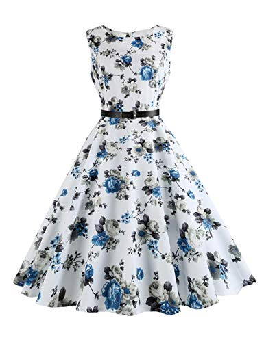 GINVELL Women Summer Vintage Dress Sleeveless Flower Print Evening Party Swing Dress with Belt White (Flower Print Swing)